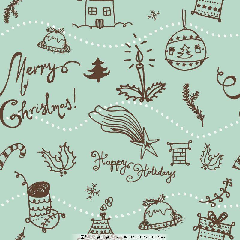 童趣圣诞元素插画矢量素材 背景 圣诞节 手绘涂鸦 量节日 ai 绿色 ai