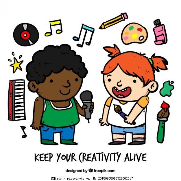 手绘小艺术家 音乐 人 小孩 儿童 卡通 绘画 吉他 快乐 画笔