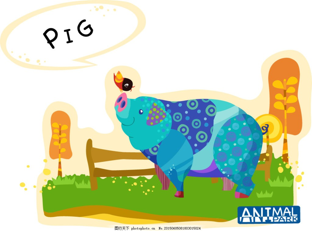 卡通动物插画 ai矢量227 水彩画 儿童画 抽象 小鸟 英语小报素材