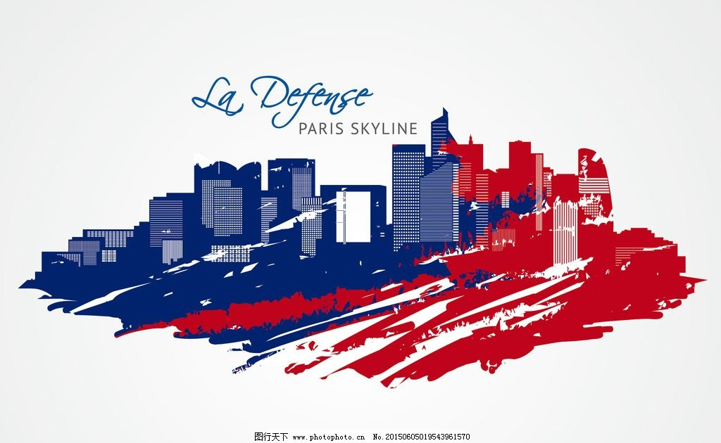 巴黎彩色手绘城市图片