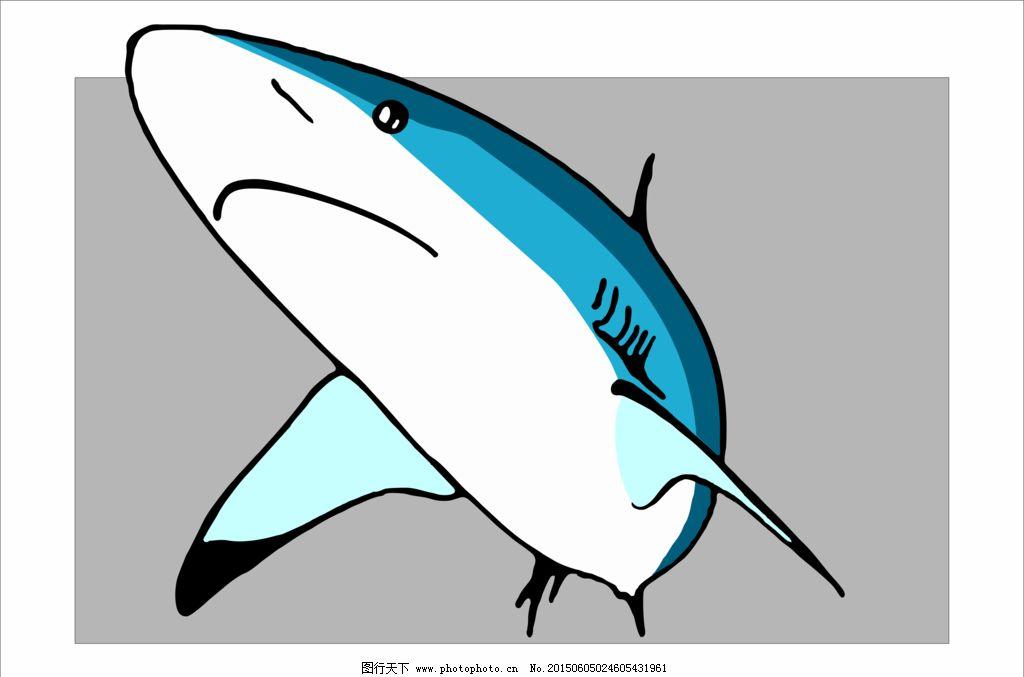 小鲨鱼矢量手绘图片