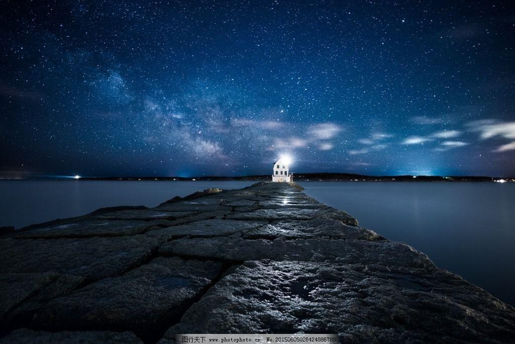 唯美星空大海灯塔夜景高清图片壁纸