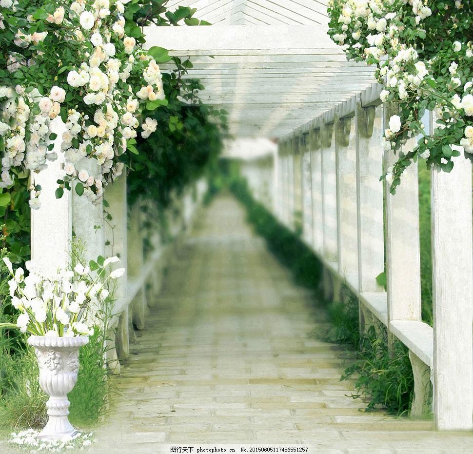 庭院里的走廊过道影楼摄影背景 影楼素材 影楼背景 喷绘背景 高清背景图片