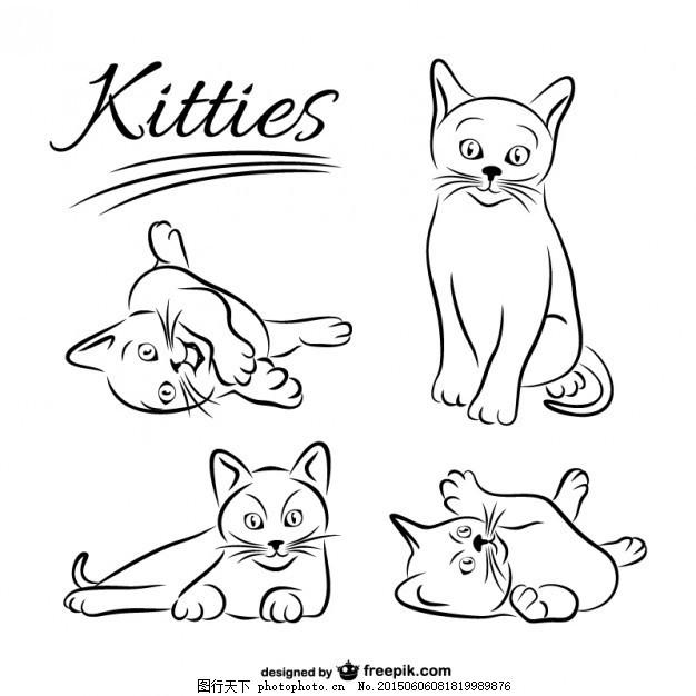 画猫的收集 手 模板 动物 线 手画 艺术 可爱 图形 图形设计