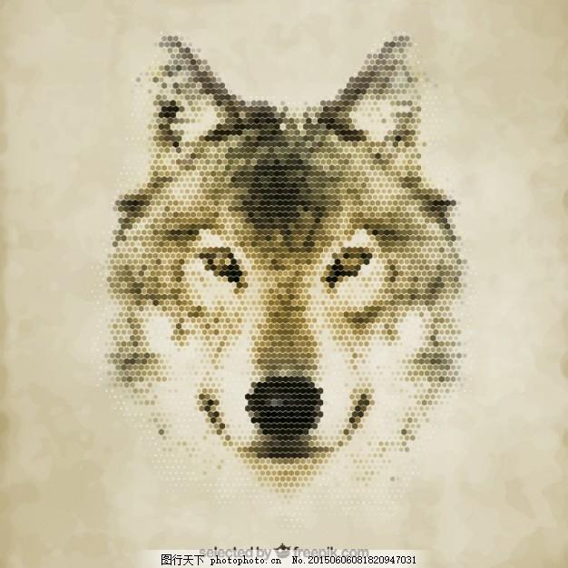多边形的狼 几何 动物 面 六边形 肖像 野生 六角形 黄色