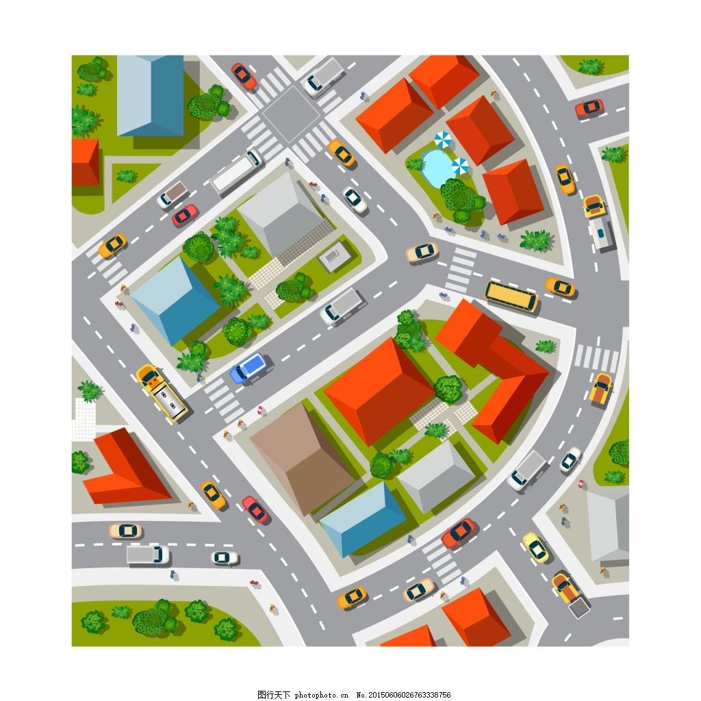 卡通城市街道鸟瞰 鸟瞰平面图 马路 道路 地图 白色