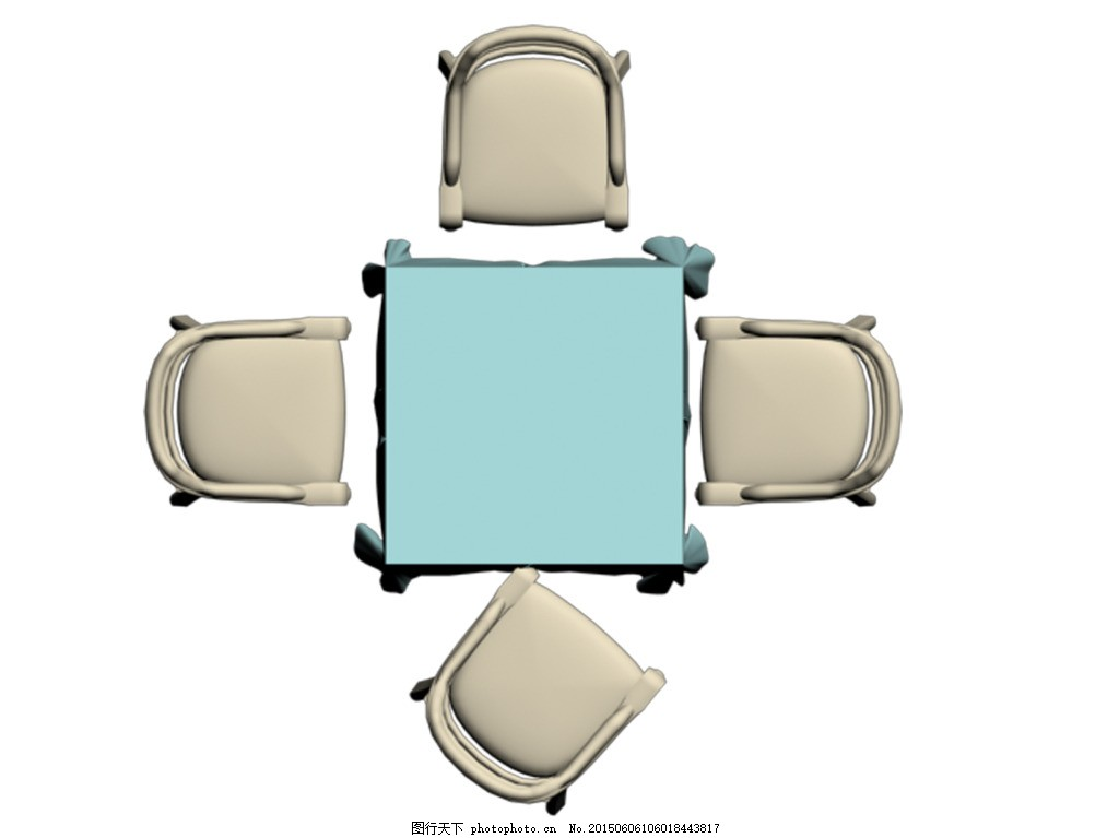 麻将桌 家居餐桌组合 桌椅平面图 白色
