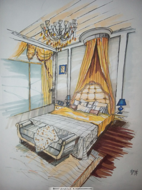 卧室手绘 室内手绘 马克笔上色          灰色 jpg