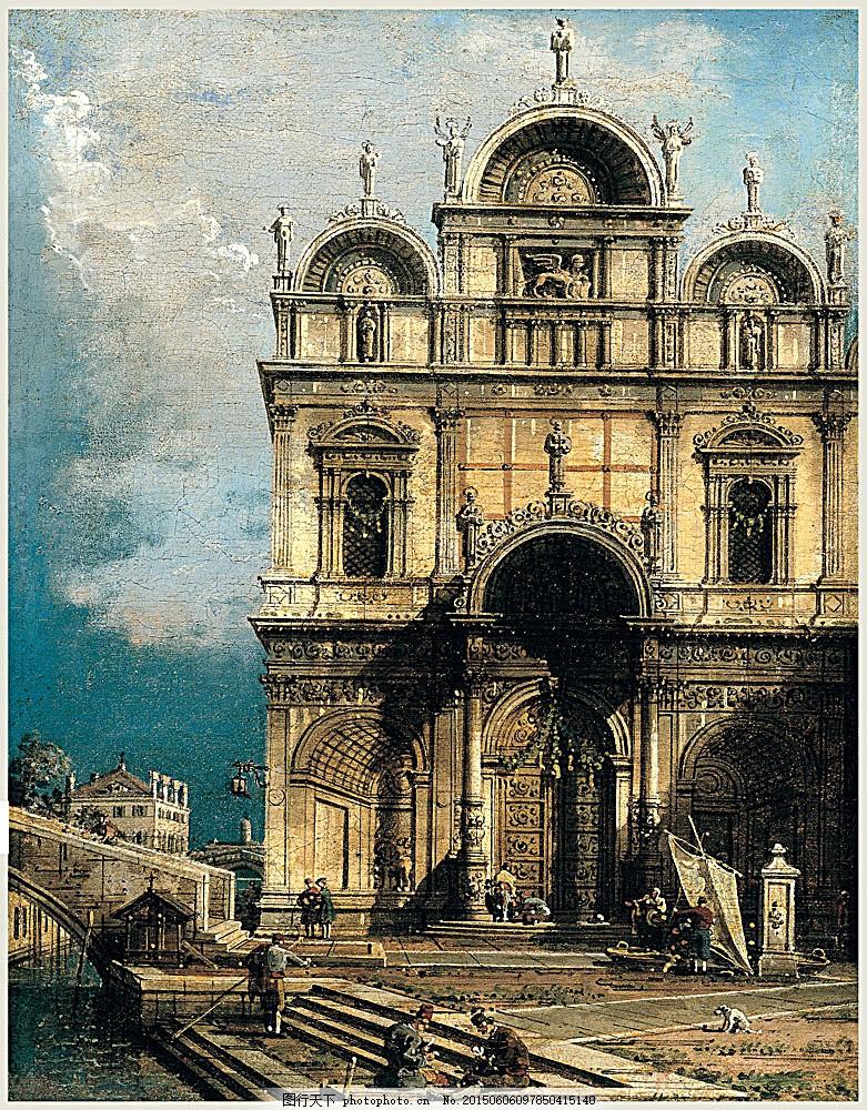 欧式教堂风景油画