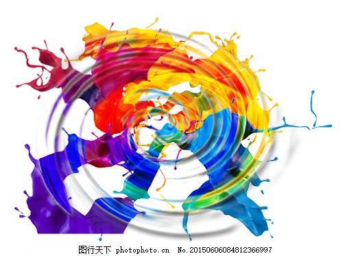色彩旋转流动,白色-图行天下图库