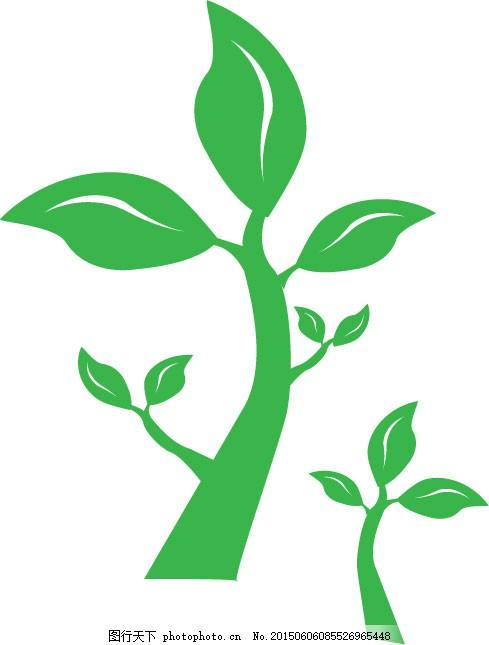树枝 绿色 矢量图 白色