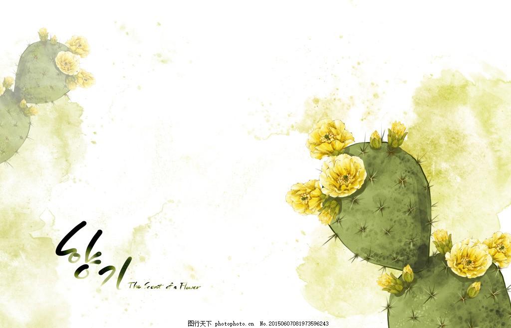 开花的仙人掌 水彩 植物 白色