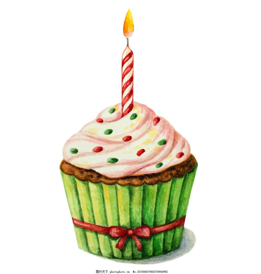 纸杯蛋糕 美食 蜡烛 纸杯 蛋糕 水彩画 eps 白色 eps
