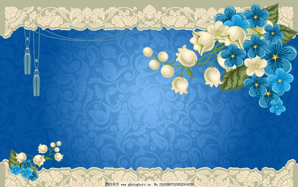 蓝色底手绘绿植墙