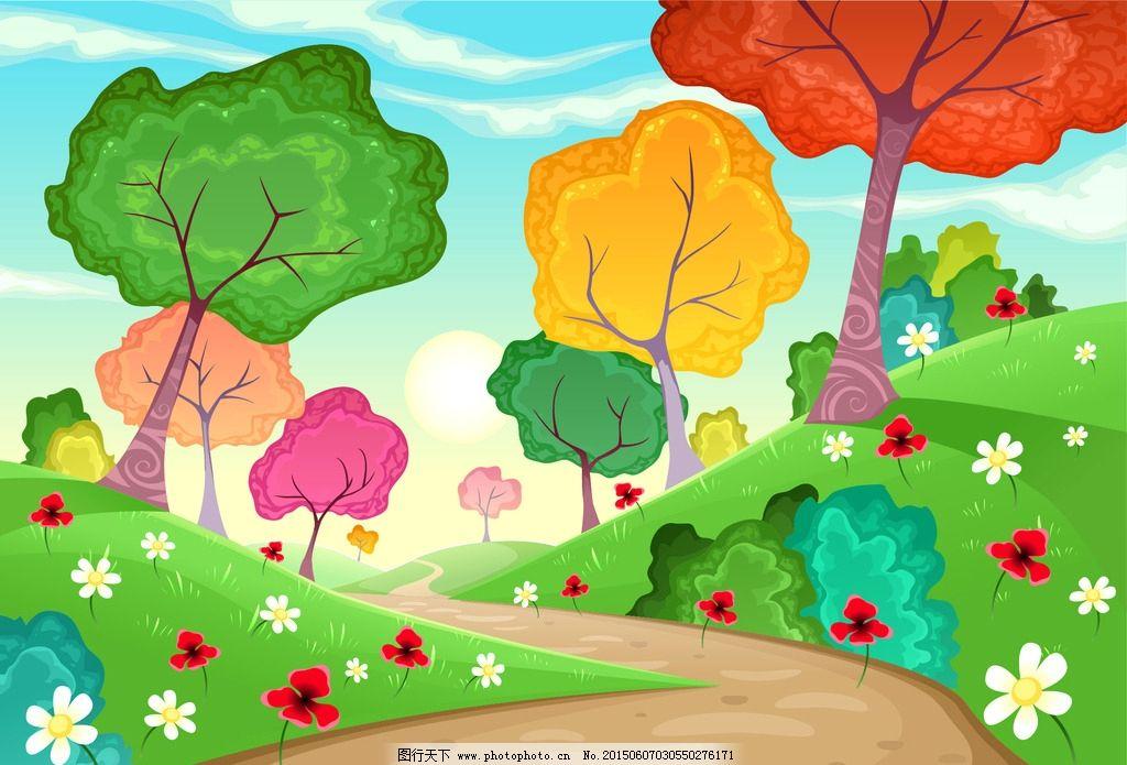 卡通风景 卡通树 幼儿园