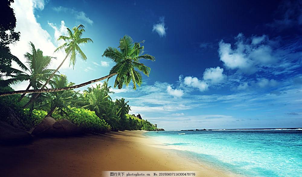 美丽海滩风景 海滩风景 沙滩风景 大海风景 椰树 蓝天白云 美丽风景