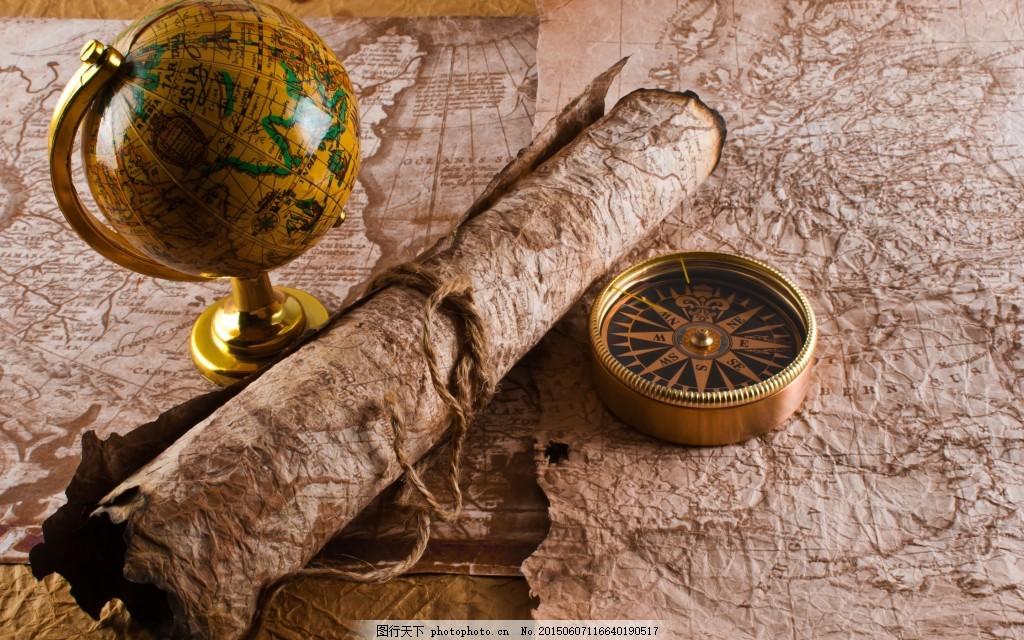 复古欧式古罗马 地图 地球仪 指南针 黑色