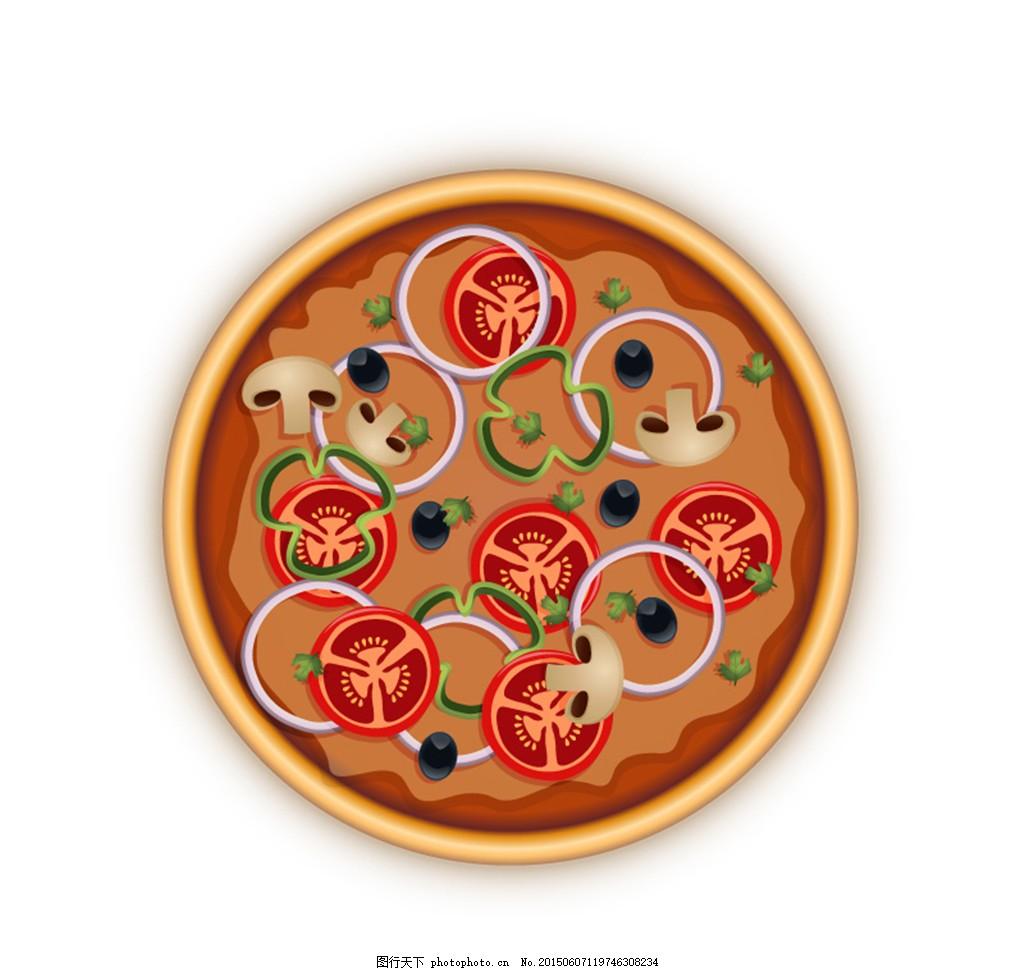 美味蔬菜披萨俯视图矢量素材