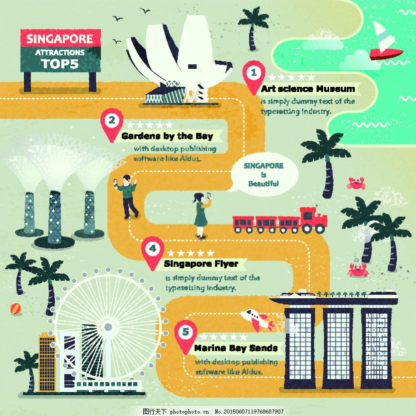 新加坡旅行地图 手绘 时尚 黄色