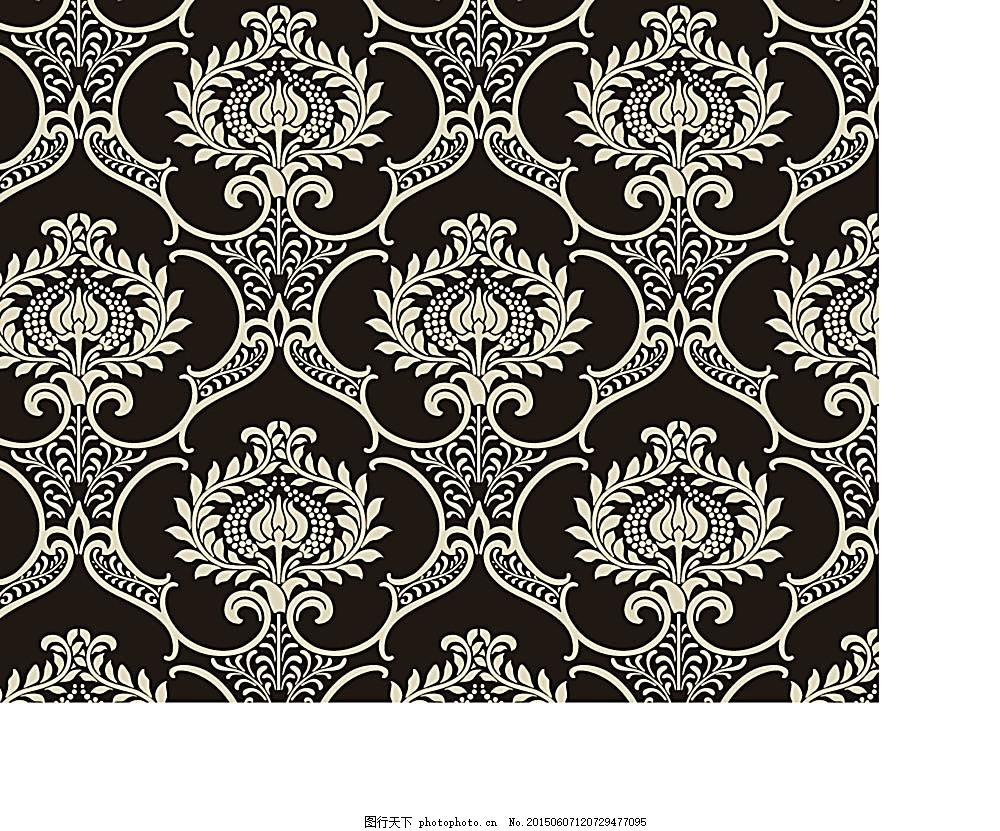 底纹边框 传统底纹 古典花纹 复古花纹 欧式花纹 矢量素材 eps 黑色