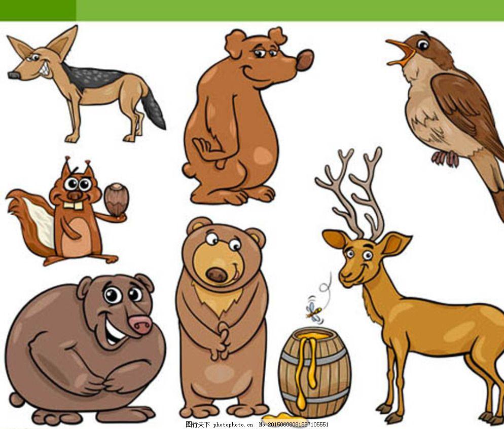 卡通动物 拟人化动物 简笔画 漫画动物 平面素材 广告设计 白色