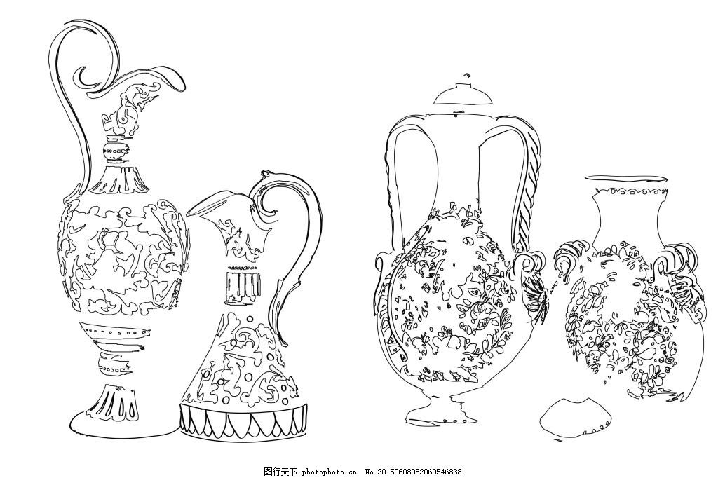 线稿 黑白 花瓶 漂亮 手绘 白色