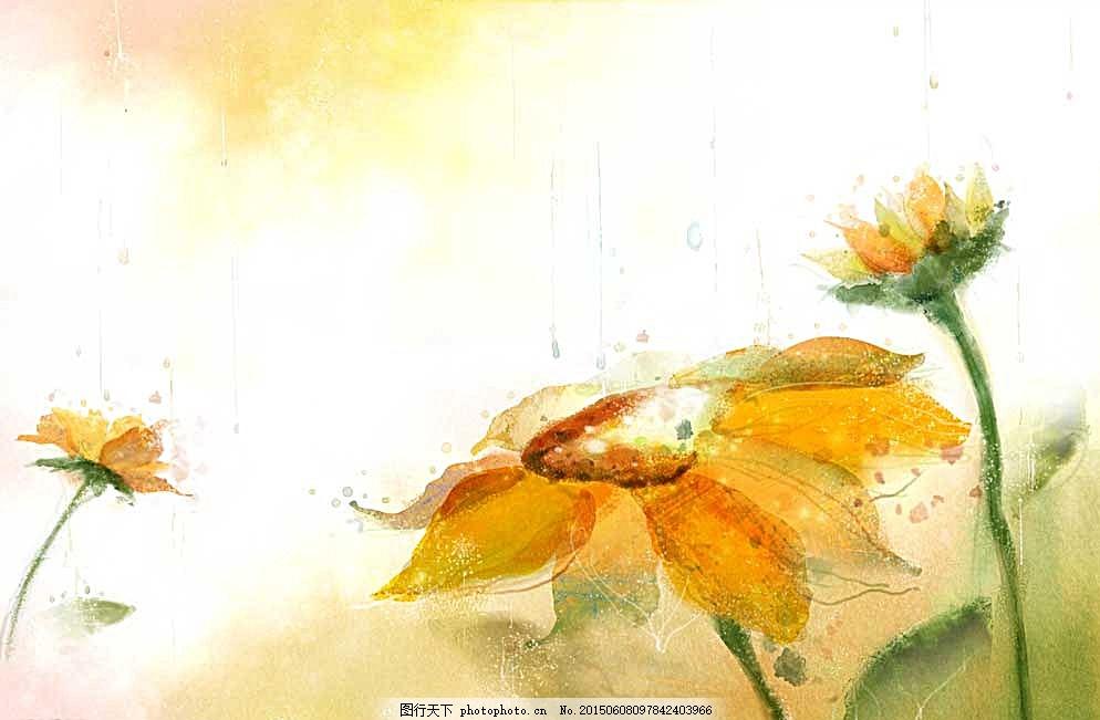 时尚顺手绘花草设计 壁画 花草 丝巾 印花 窗帘条纹 稀巧花型 花草花型