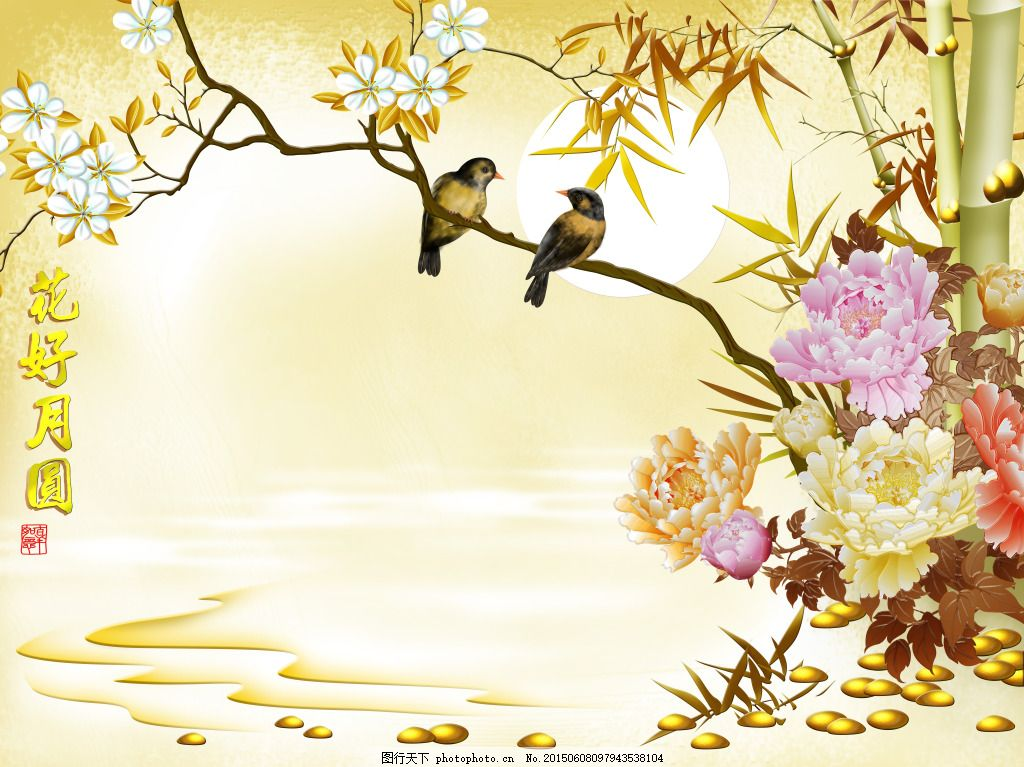 彩雕 浮雕 电视背景墙 小鸟 牡丹花 白色