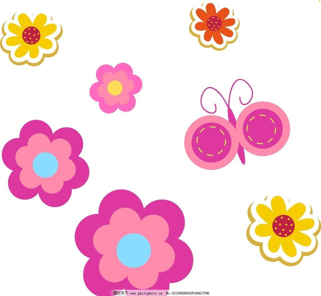 手绘花朵 蝴蝶图片