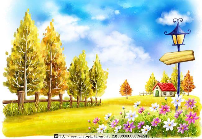 手绘秋季美景插画psd素材 背景 草丛 草地 大树 护栏 花丛