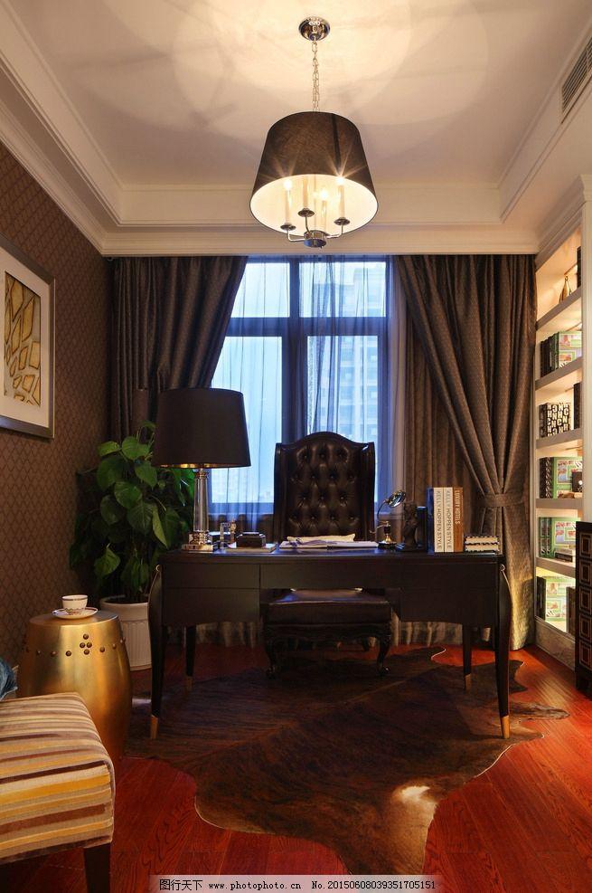 书房 书柜 书桌 木地板 豪华 欧洲风 欧式 简欧风格 欧式装修 现代家居 室内设计 高清 摄影 建筑园林 室内摄影 350DPI JPG