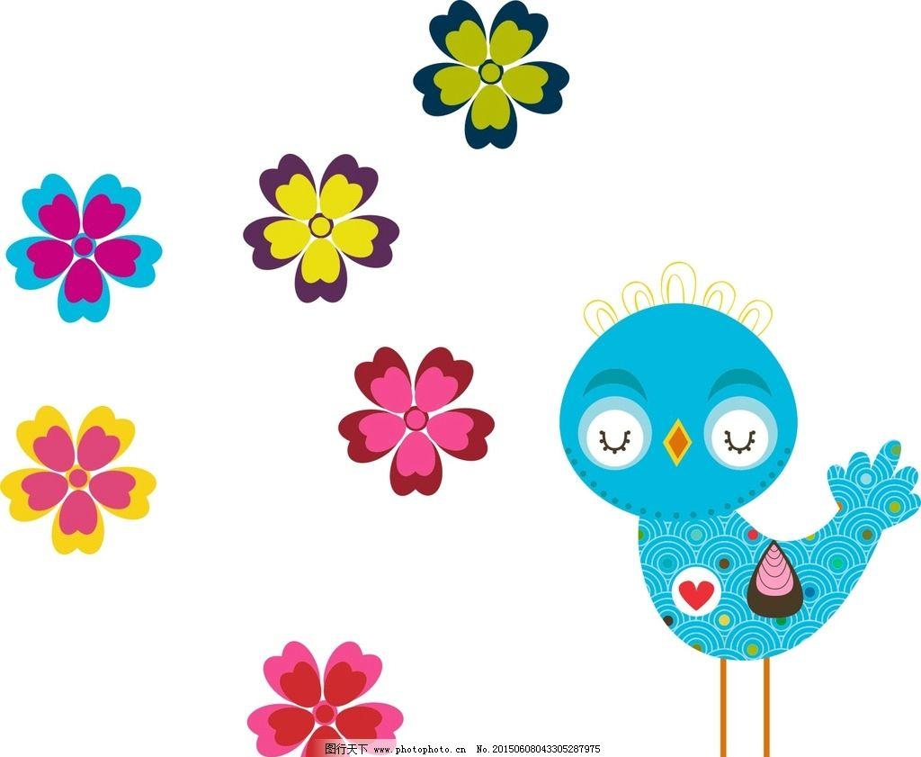 小鸟 花朵插画图片,手绘花朵素材 手绘插图 手绘素材