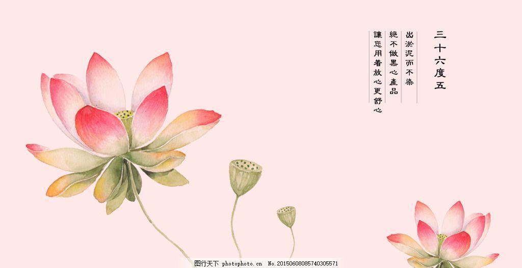 荷花素雅海报 莲花 复古 文艺 中国风 白色图片