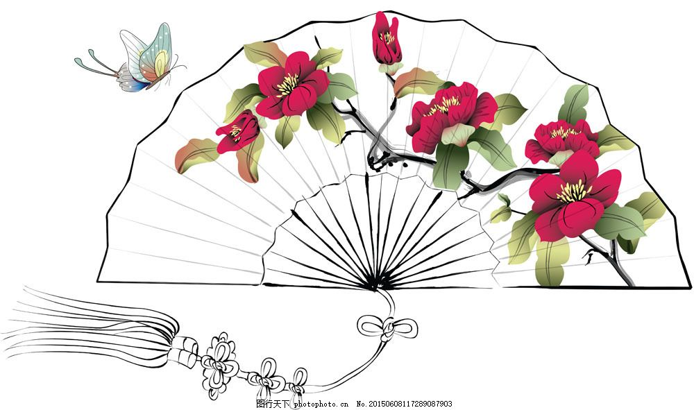 手绘扇子 扇子插画 花朵 蝴蝶 扇面 折扇 其他类别 生活百科