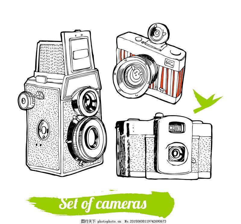 手绘精美照相机 摄影 鸽子 单反照相机 电子产品 胶片相机 数码照相机