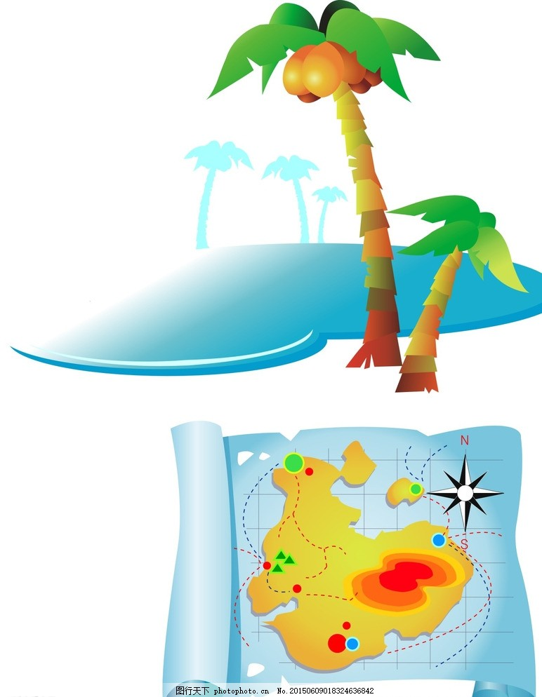夏日素材 沙滩素材 椰子树 卡通椰子树 矢量椰子树 地图 手绘地图