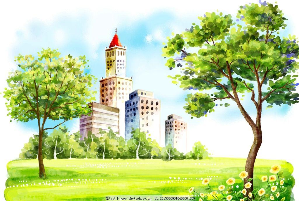 手绘插画建筑风景