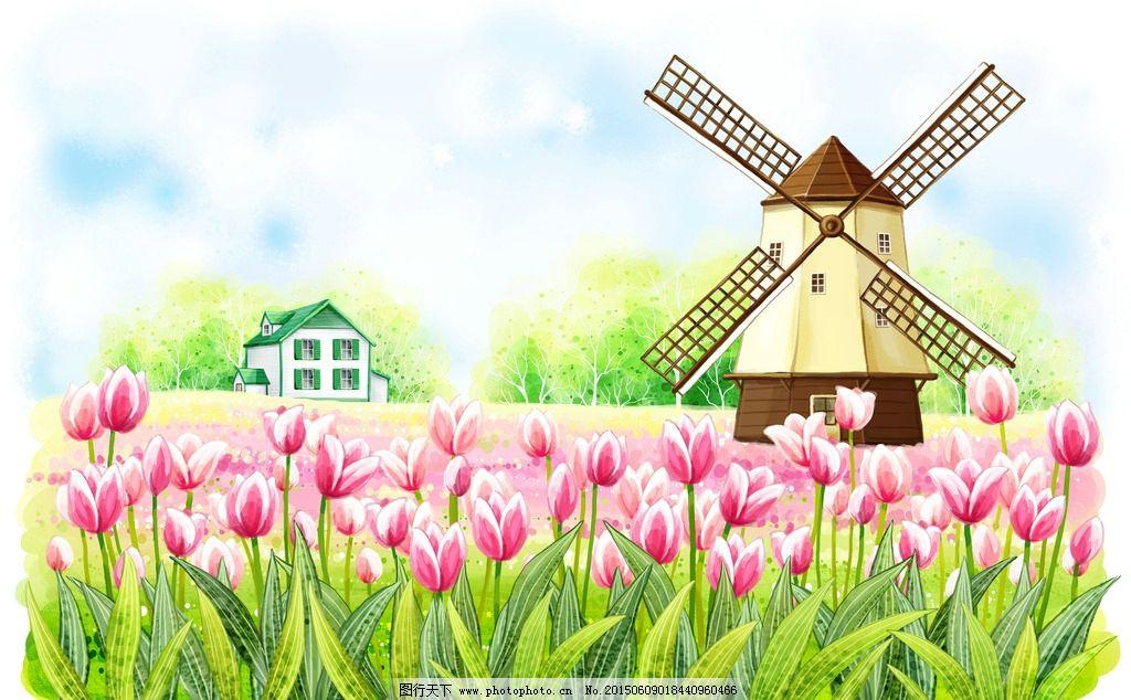 夏日田园小屋风车风景手绘插画图片