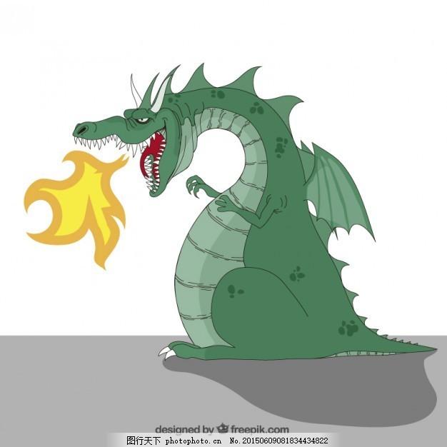 龙吐火 动物 卡通 怪物 插图 脂肪 幻想 古代 传说 神话 白色