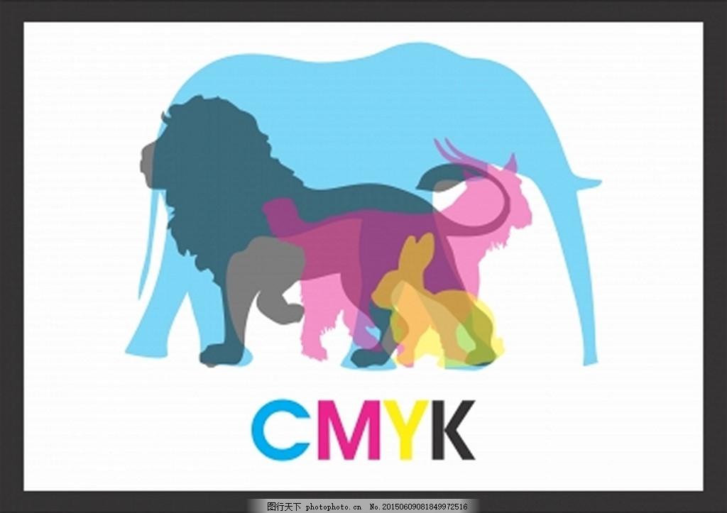 创意图形海报 动物 大象 狮子 马 ai 白色