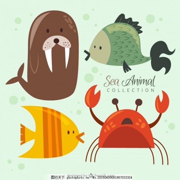尼斯海动物集合 手鱼 自然 海洋 狮子 手画 可爱 有趣 蟹