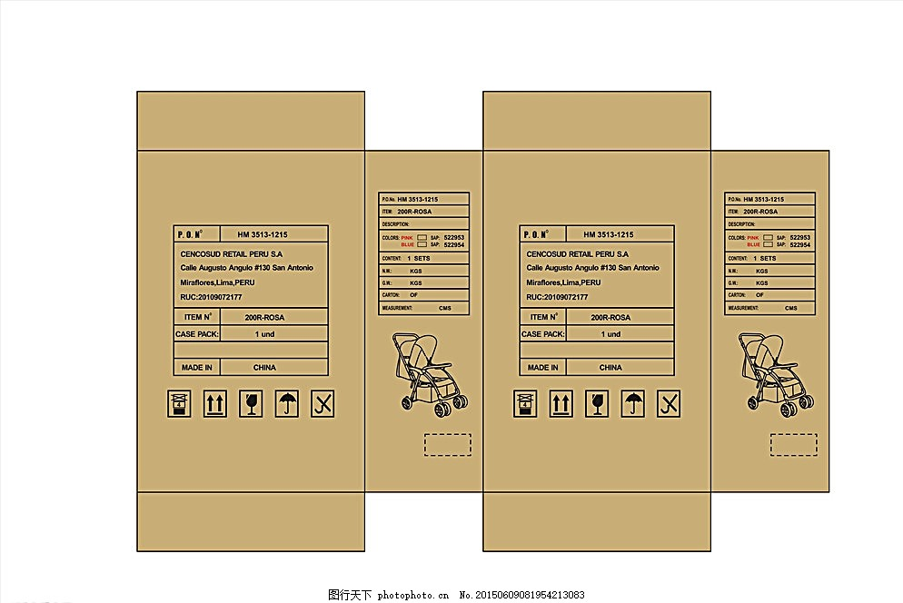 婴儿推车纸箱图案 推车 包装箱 英文 出口 草箱 设计 其他 图片素材