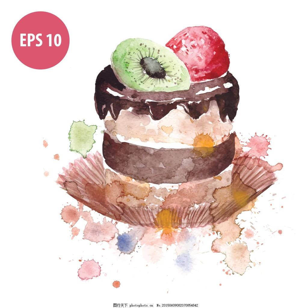 水果纸杯蛋糕 甜品 美味 水果 蛋糕 水彩 eps 白色 eps