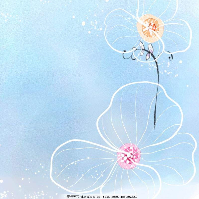 小清新背景 手绘 手绘花朵 蓝色背景 清新背景 唯美 psd 青色 天蓝色