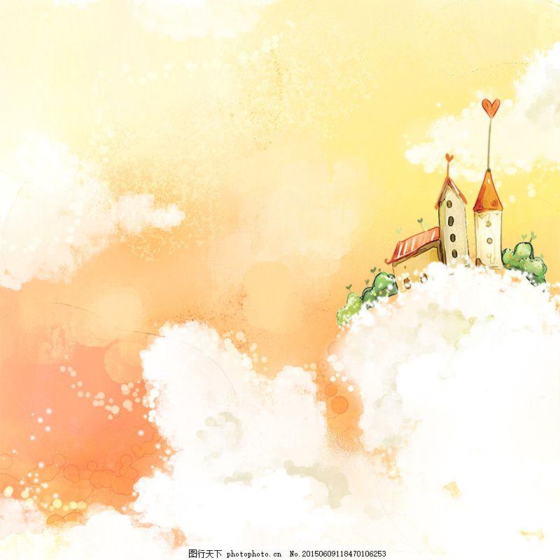 卡通手绘背景 云朵 卡通房子 卡通背景 白色