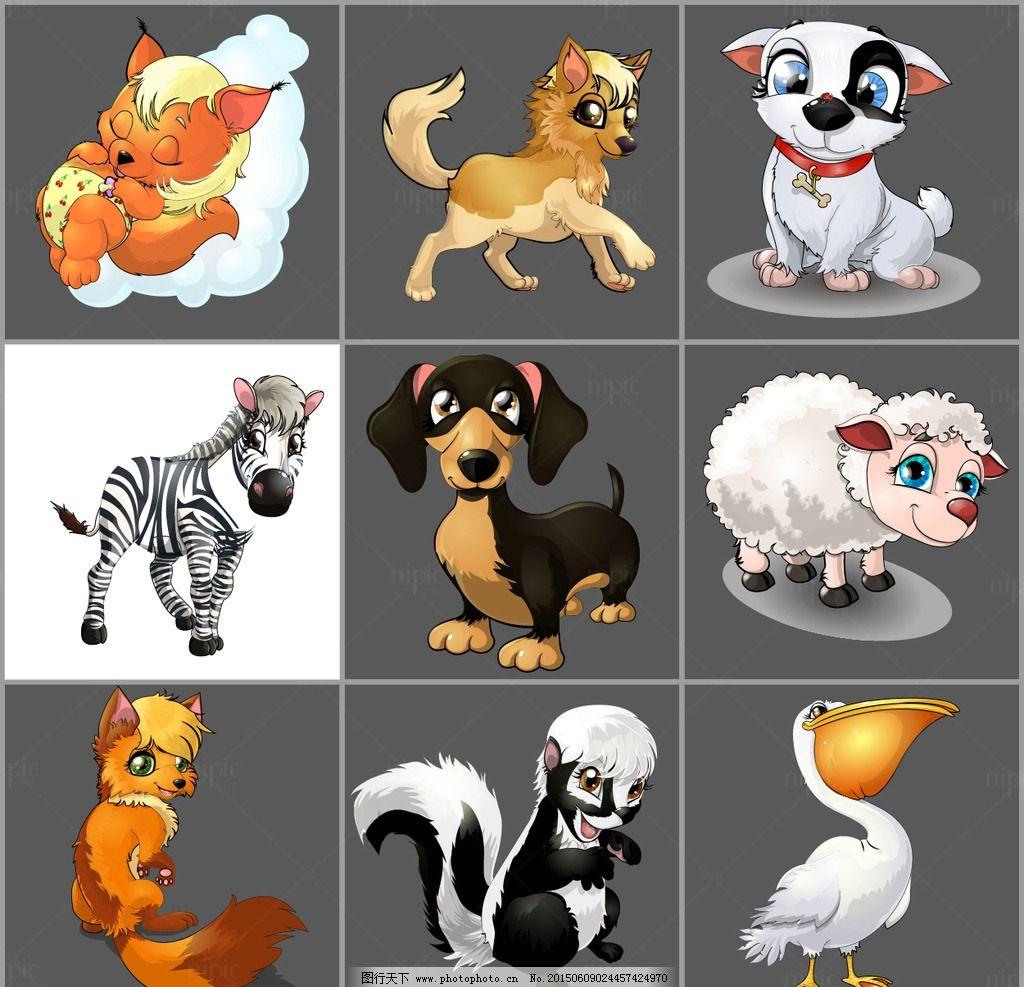 动物头像 十二生肖 动物园 动物海报 马赛克 动物 狼 熊猫 兔子 猪 狐