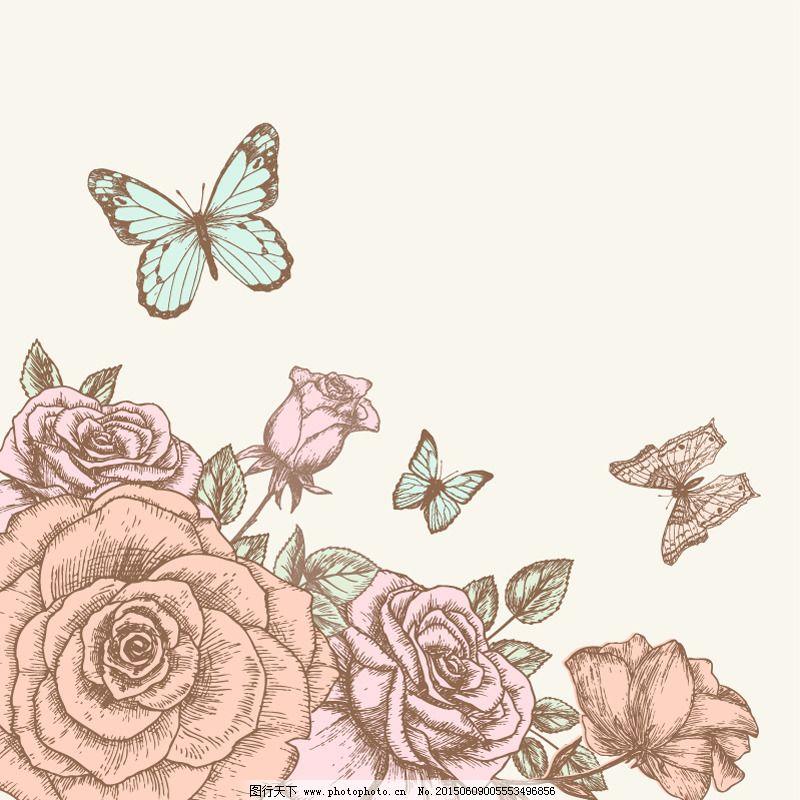 手绘玫瑰与蝴蝶矢量素材