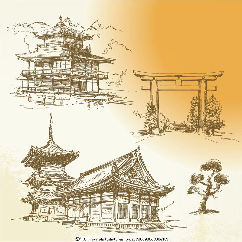 手绘古代建筑矢量素材