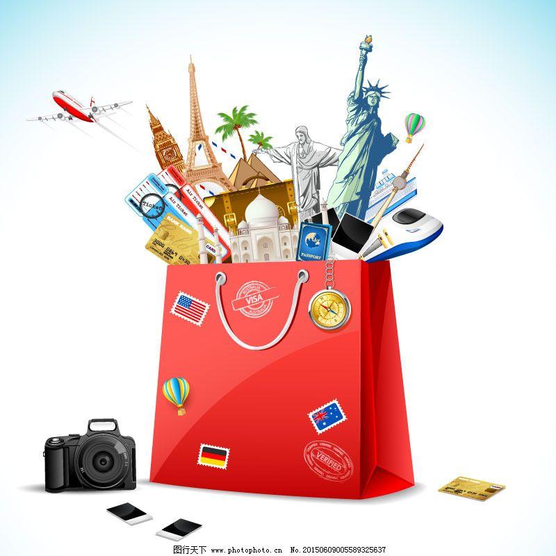 环球旅行购物袋矢量素材免费下载 巴黎铁塔 飞机 购物袋 旅行 泰姬陵