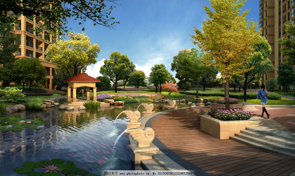 景观 欧式 水景 小区 小区 水景 欧式 景观 装饰素材 园林景观设计图片